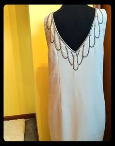 Beaded back dress lined H&M  tan w silver beads